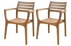 Danish Stacking Chairs, Set of 4 -- Sleek, Scandinavian restraint gives this set of eucalyptus wood arm or dining chairs a fashionable look. A great addition to traditional and contemporary settings and dining rooms or outdoor patios alike.