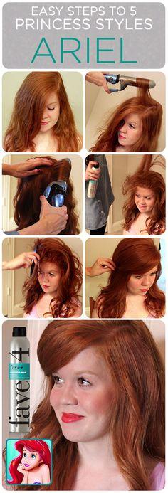 Ariel Hair Tutorial: 5 Easy Princess Styles #disney #princess #hairstyle #redhead