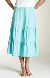 tiered cotton knit skirt
