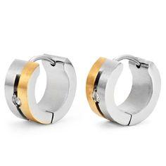 Stunning Mens Hoop Earrings CZ Stainless Steel Gold by RnBjewelry | RnBJewellery