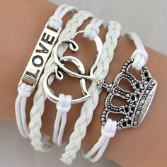 High Quality Women's Multi-layer Braided Double Heart Love Crown Faux Leather Bangle Bracelet Item Type: BraceletsFine or Fashion: FashionLength: Bracelet Infinity, Bangle Bracelets, Bangles, Leather Chain, Aliexpress, Wax, Great Gifts, Braids, Silver