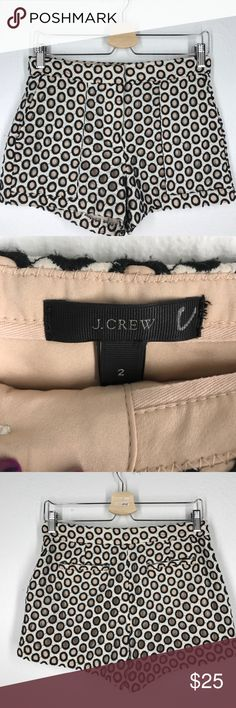 J.Crew black white eyelet shorts sz 2 These J.Crew shorts are in great used condition! They are a pale pink lining with white and black eyelet material on top. Pockets on the front and back. J. Crew Shorts