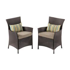 Hampton Bay Tacana Stationary Wicker Outdoor Dining Chair - The Home Depot Wicker Dining Chairs, Outdoor Chairs, Outdoor Decor, Small Patio Furniture, Outdoor Furniture Sets, Seat Cushions, The Hamptons, New Homes, Stationary