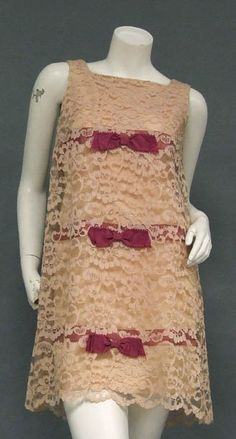 1960's vintage dress - This is almost identical to a prom dress I wore - mine didn't have the ribbons and bows.
