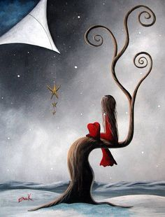 Waiting, twirly tree and girl with her heart painting.