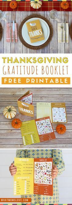 Free Printable Thanksgiving Gratitude Book for Kids   Fun craft and activity to teach thankfulness   Thanksgiving kids table ideas