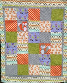 Woodland fox baby blanket quilt by TheAppalachianGypsy on Etsy, $75.00