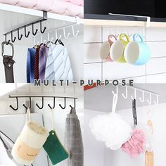 Fear that the kitchen is messy? The Under-Cabinet Hanger Rack offers a convenient way to hang cups, cookware, towels, gloves or anything you want to hang under Under Shelf Storage, Storage Rack, Storage Shelves, Room Interior, Interior Design Living Room, Shelf Holders, Gadgets, Hanger Rack, Hanging Racks