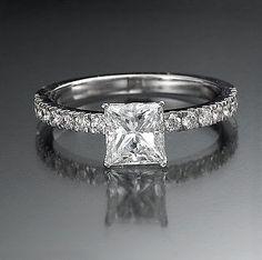 1 Carat D VS2 Diamond Engagement Ring Princess Cut 14K White Gold