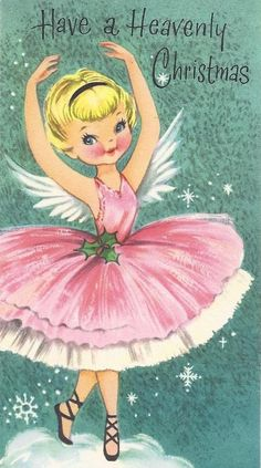 Vintage Pink Christmas Card with Angel Ballerina