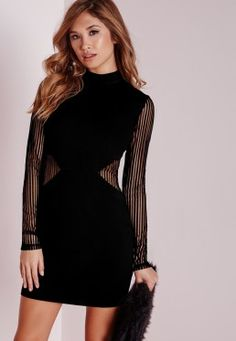 Mesh Detail Bodycon Dress Black