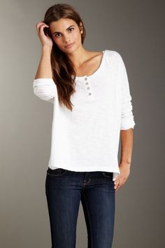 "Threads for Thought Bobbi Henley Top $11.00  -Scoop neck  -Front henley placket  -Doman sleeves  -Loose bodice fit  -Aprox. 25"" length"