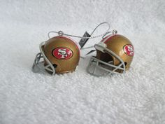 San Francisco 49ers Football Helmet Ornaments Set of 2 Christmas Decor NFL #NFL #SanFrancisco49ers