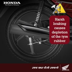 #TwoWheelerMaintenance  Safe riding is essential to keep your two wheeler tyres intact and in perfect condition. Avoid harsh braking as this causes more wear and tear of the tyre rubber due to increased friction.