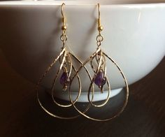 16K Gold Spin Drop Pendant Earrings with by MarmaladeAndMayberry