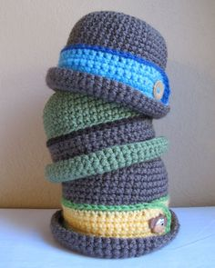 Crochet baby boy hats...need to make this with some little knickers and suspenders!