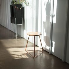TRI450 copper and american white oak stool