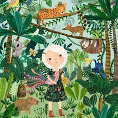 Section of my Surtex banner - a blend of South American and Australian creatures - a bit like my family. #rebeccajones #illustration #jungle #southamerican #lillarogers