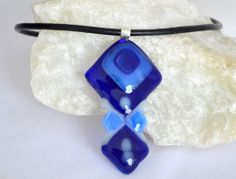 fused+glass+ideas | Fused Glass necklace blue and white