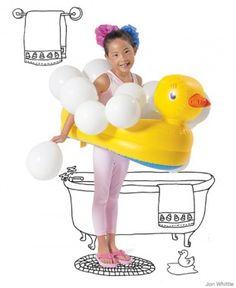 Yes, this costume is meant for a kid, but I think I could modify it and make it a little sexier =) Cut the hole in an inflatable baby bathtub, then make support suspenders. Tape around white balloons and wear loofas in your hair. I want to carry around a bubble gun as well, and maybe only wear a bathing suit underneath.
