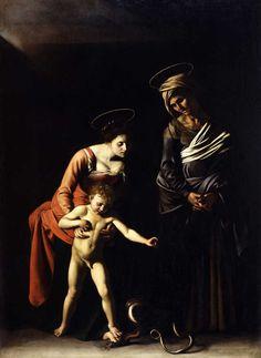 Madonna dei Palafrenieri, Caravaggio, olio su tela,1606, Galleria Borghese di Roma. Realizzata per l'Arciconfraternita dei Palafrenieri Pontifici. A destra é rappresentata Sant'Anna, Patrona dei Palafrenieri.