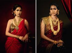 Two different gold looks, I also love the sari on the right.