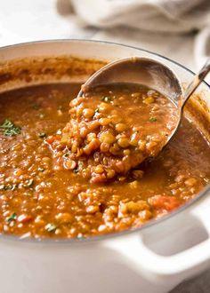Vegan Lentil Soup, Lentil Soup Recipes, Turkey Lentil Soup, Lentil Dahl, Cheesy Potato Soup, Turkey Broth, Vegan Recipes, Cooking Recipes, Vegan Meals
