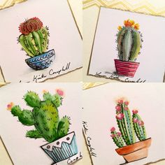 Mini watercolor cactus pictures for cards by Laura Kirste Campbell, Informations About Mini-Aquarell-Kaktusbilder für Karten von Laura Kir. art dibujo garden indoor plants drawing appartement bathroom home decor wood room decor Succulents Drawing, Cactus Drawing, Cactus Painting, Plant Painting, Watercolor Cactus, Cactus Art, Cactus Flower, Painting & Drawing, Watercolor Paintings