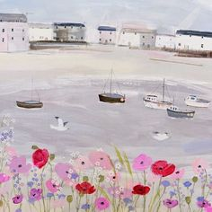 I first came across Whistlefish Galleries when I bought some beautiful cards by Hannah Cole a few years ago on a holiday in Cornwall , . Sea Illustration, Illustrations, Holidays In Cornwall, Nautical Wall Art, Happy Paintings, Arte Floral, Graphic Design Art, Medium Art, Traditional Art