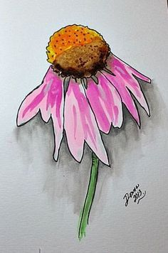 Daisy/ Watercolors No tutorial, just image. Easy watercolor idea for kids class. Watercolor Paintings For Beginners, Kids Watercolor, Watercolor Projects, Watercolor And Ink, Watercolor Flowers, Watercolour Painting, Flower Art, Painting & Drawing, Art Projects