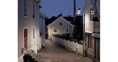 Stockholm II post illuminates back street in Åhus