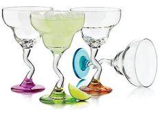 4 PIECE 12OZ COLORS MARGARITA GLASS SET Z-STEM DISHWASHER SAFE FIESTA PARTY
