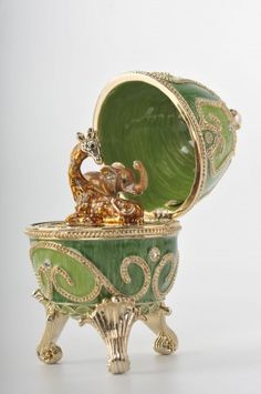Green Faberge Egg with Animals Inside