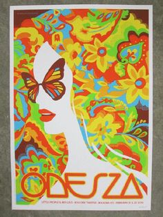 Original silkscreen concert poster for Odesza at The Boulder Theater in Boulder, CO in 2015. 18 x 24 inches on card stock. Artwork by Dan Stiles. Numbered edition of only 200.