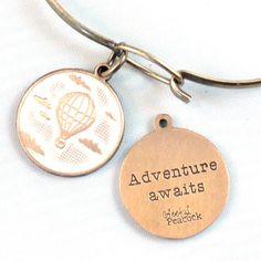 Adventure Awaits Handpainted Charm Bangle Bracelet