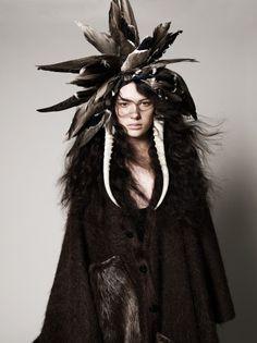 """The Moon Maiden""      ~      Januz Kree*       'CREE Tribal Warrier' Headdress, Steam Punk, Cosplay, Native American Fashion, Tribal Fashion, Wild Ones, Spirit Animal, Costume Makeup, Character Inspiration"