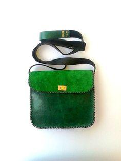 Green and black leather bag / Handmade crossbody  by AnaKoutsi