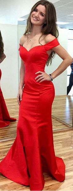 #red #satin #prom #party #evening #dress #dresses #gowns #cocktaildress…
