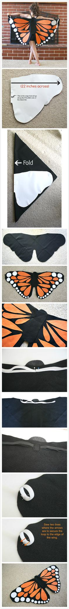 Monarch Butterfly Wings Tutorial Think I can up the size and have my Halloween costume! Sewing Hacks, Sewing Crafts, Sewing Projects, Diy Crafts, Sewing For Kids, Diy For Kids, Diy Costumes, Halloween Costumes, Couple Costumes