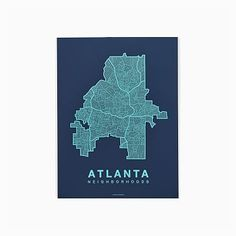 David Anthony Harman is the Knoxville, Tennessee-based maker of Native Maps. Inspired by long bike rides throughout his hometown, David began compiling an intricate map, and eventually expanded the project to other cities. Atlanta Neighborhoods, Atlanta Art, City Maps, Nativity, Art Gallery, Prints, Projects, Inspiration, Teal
