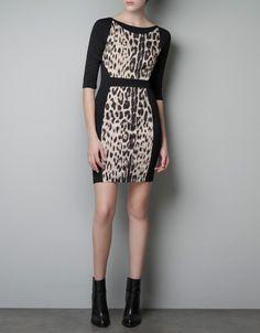 LEOPARD-PRINT COMBINATION DRESS - Dresses - Woman - ZARA @3390/2790