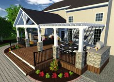 model-opt Keystone Custom Decks is a deck builder in Chester & Lancaster County that creates dream outdoor living spaces, including patios, porches, and outdoor kitchens! Covered Patio Design, Covered Deck Designs, Backyard Covered Patios, Covered Back Patio, Covered Porches, Covered Decks, Small Backyard Decks, Small Backyards, Backyard Patio Designs