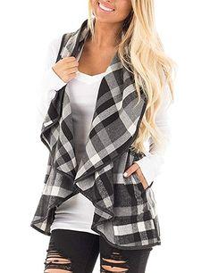 Yanekop Womens Sleeveless Open Front Hem Plaid Vest Cardigan Jacket with  Pockets(Black d945f0f5e