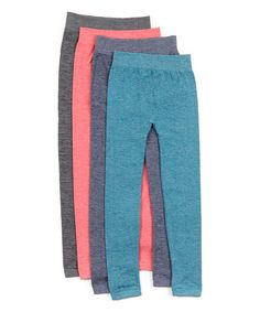 This Blue & Pink Space-Dye Fleece-Lined Leggings Set is perfect! #zulilyfinds