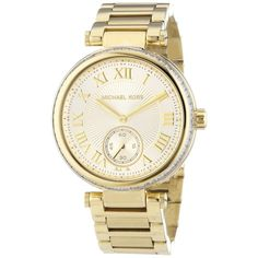 Pre-owned Nwt Michael Kors Skylar Champagne Dial Gold-tone Watch... ($155) ❤ liked on Polyvore featuring jewelry, watches, accessories, gold, yellow gold jewelry, michael kors jewelry, gold jewelry, pre owned jewelry and yellow gold watches