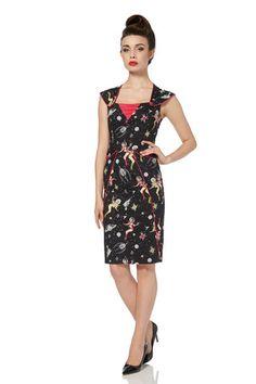 Zara 1950s Space Print Wiggle Dress | Clarence and Alabama