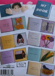 Baby Soft Fabric Book Sewing Pattern. Some cute ideas. I love the corn page.