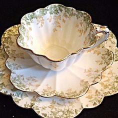 Pre Shelley Foley Wileman Tea Cup Saucer and Dessert Plate Trio
