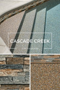 Bring the beach to your backyard with Cascade Creek. Sandy pebbles mimic the shore and as the water gets deeper it becomes a refreshing teal. The realistic texture of the stacked stone tile is a perfect complement to the natural feel of this pattern. Pool Liners Inground, Latham Pool, My Pool, Pool Fun, Pool Finishes, Pool Colors, Pool Remodel, Vinyl Pool, Dream Pools