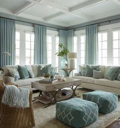 Interior design Living Room Beach - Get the full details to recreate this gorgeous turquoise coastal living room with our tips and hints and full shopping sources Beach Living Room, Coastal Living Rooms, Living Room Interior, Home Living Room, Living Room Furniture, Coastal Furniture, Furniture Ideas, Apartment Living, Apartment Furniture
